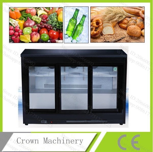 Free Shipping 3 Glass Sliding Doors Air Cooling Horizontal Refrigerator  Display Cabinet Bar Refrigerated Cabinet