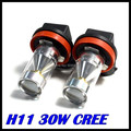 2 unids H11 led Pure Tail Cabeza Blanca Niebla del Poder Más Elevado 30 W 6LED conducir Lámpara de La Bombilla 12 V H11 30 W faros de niebla del coche fuente de luz