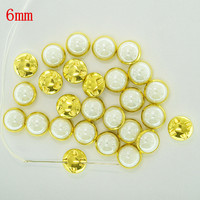 6mm 1000pcs Milk White Gold Base Ceramics Button Sewing on Rhinestones In Claw For DIY Clothing accessories
