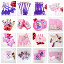 Sofia Princess Tablecloth Cups Happy Birthday Party Supplies Girls Cartoon Tableware Kids Cake Topper Decorations