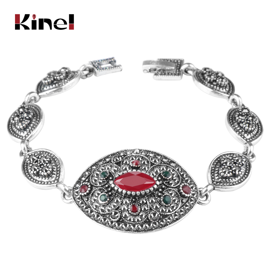 Kinel Flower-Bracelets Jewelry Crystal India Vintage Charm Silver-Color Women for Ancient