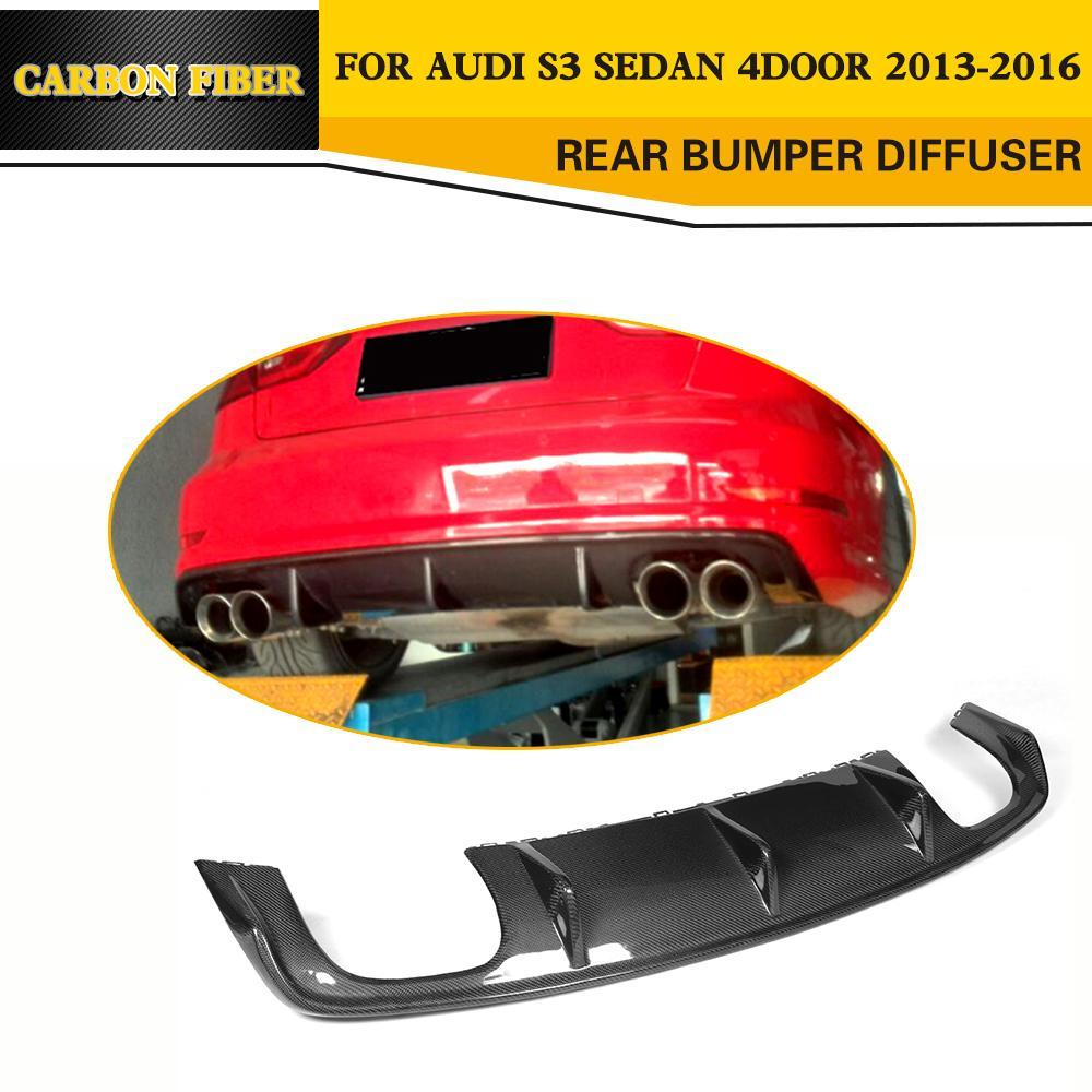 Style de voiture de Course en fiber de Carbone Diffuseur Arrière Lip pour Audi S3 Berline 4-Porte Seulement 2013-2016