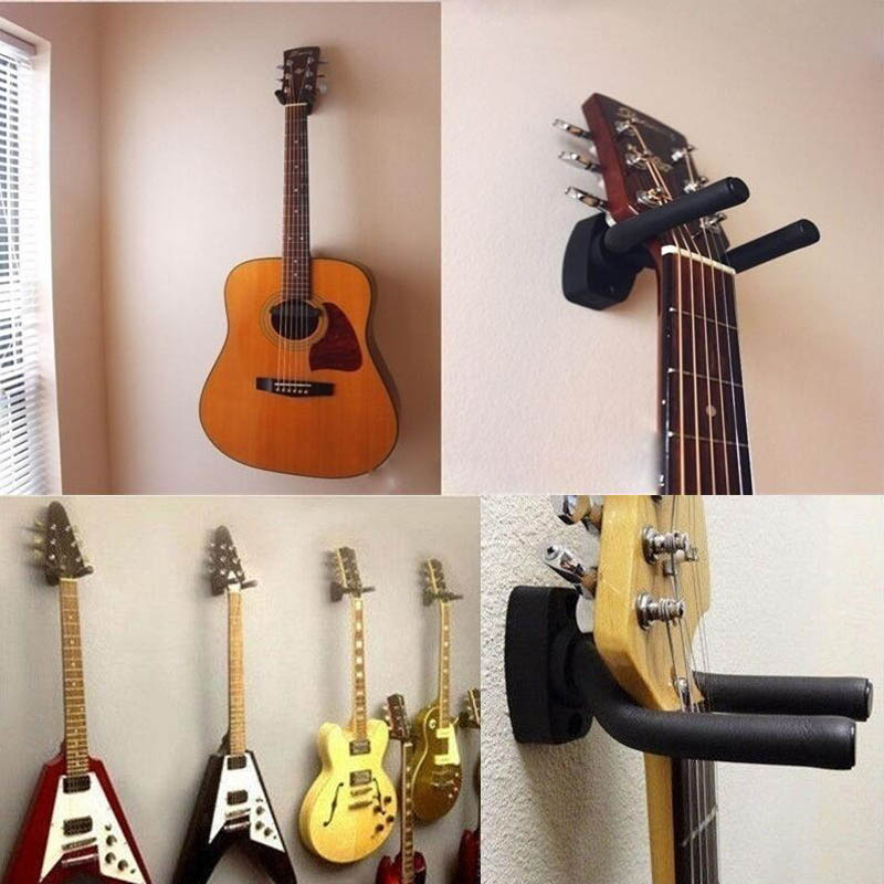 Guitar Hangers with Screws Rack Wall Mount Display Flexible Arms Black 10 Pieces