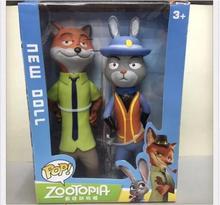 20cm 2pcs/box Zootopia Cartoon Utopia Action Figure Movie Pvc Mini Models Nick Fox Judy Rabbit Dolls Toys Collectible Gifts