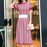 Hit Color Striped Knitted Dress Women 2019 Summer O neck Short Sleeve Midi Dress Preppy Style A Line Sweater Summer Dress Red