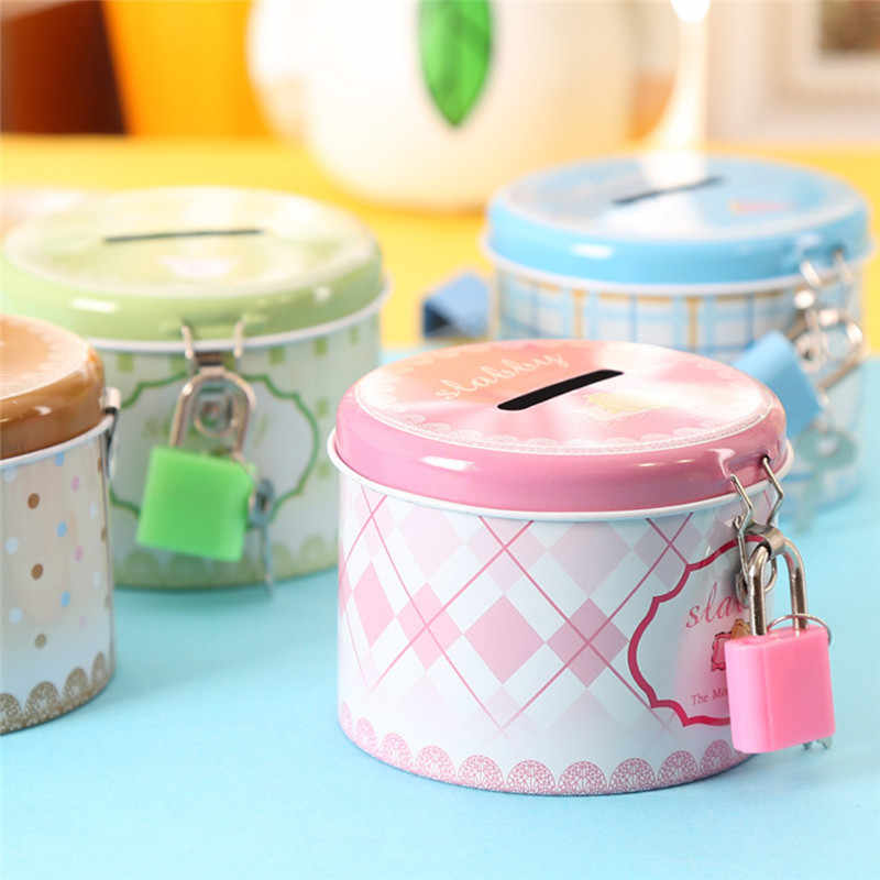 1PC Round Cute Coin Box Piggy Bank Money Box with Lock and Key Metal Cartoon Birthday Gift Money Safe