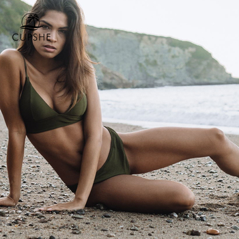Army Green Solid Bikini Set Two Pieces Swimwear 2020  2