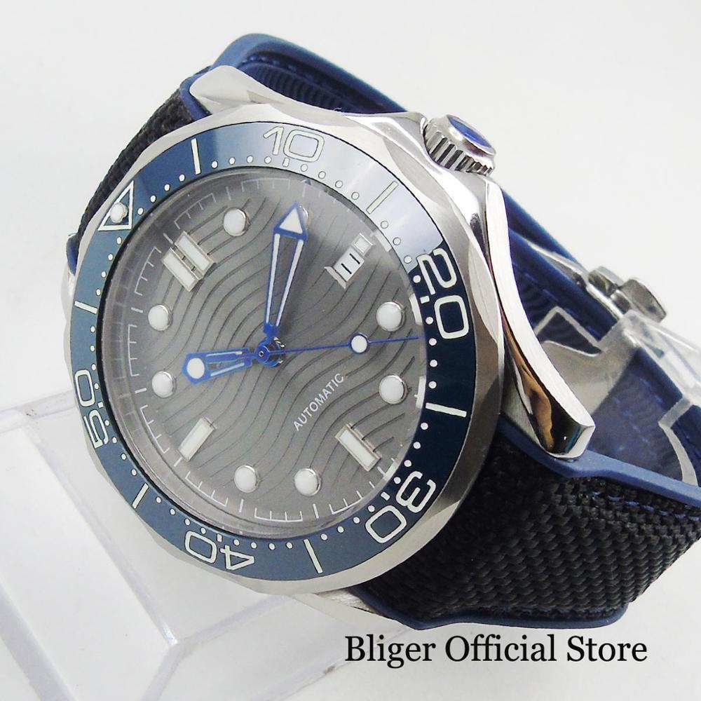 BLIGER Sport Stijl Automatische mannen Horloge Zelfoprollend Beweging Nologo Horloge Gezicht Met Wave Patroon 41mm Tijd Horloge - 2