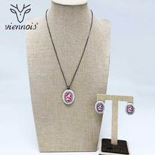 Viennois Black/ Rose Gold/ Gold Color Pendent Necklace Stud Earrings Jewelry Sets for Women Wedding Bridal