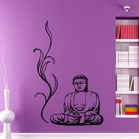 ZOOYOO Buddha Wall Stickers Yoga Pose Meditation Relax Floral Wall Decals DIY Removable Home Decor Vinyl
