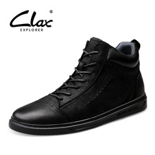 CLAX Man Boot Genuine Leather Autumn Men's Leather Shoes Male Ankle Boots Handmade Walking Footwear clax men s ankle boots genuine leather casual shoes male 2018 spring autumn leather boot soft comfortable walking footwear