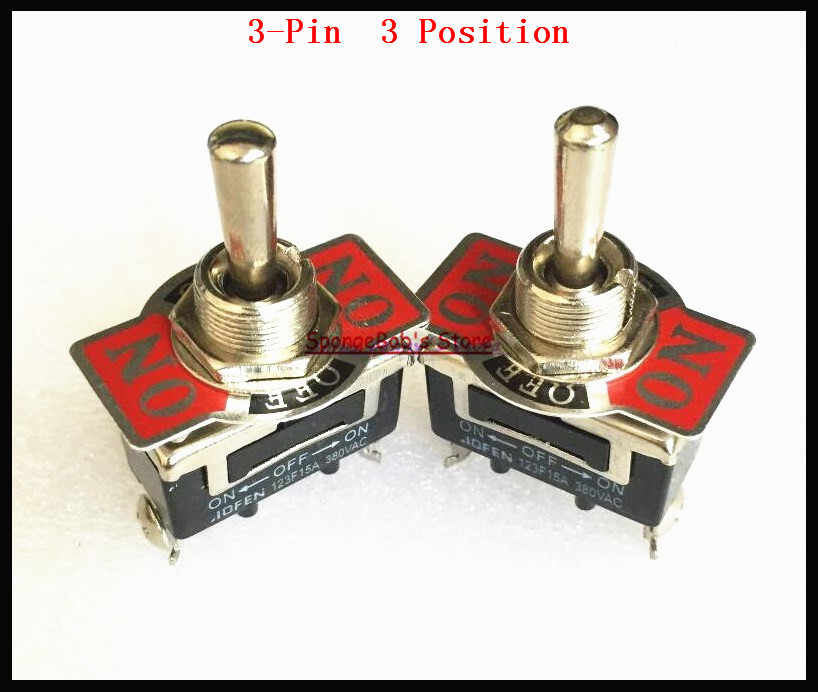 2 Pcs/lot 123F 3-Pin 3 Posisi On-Off-On Spring Return Momentary Switch 15A 250VAC Beralih switch