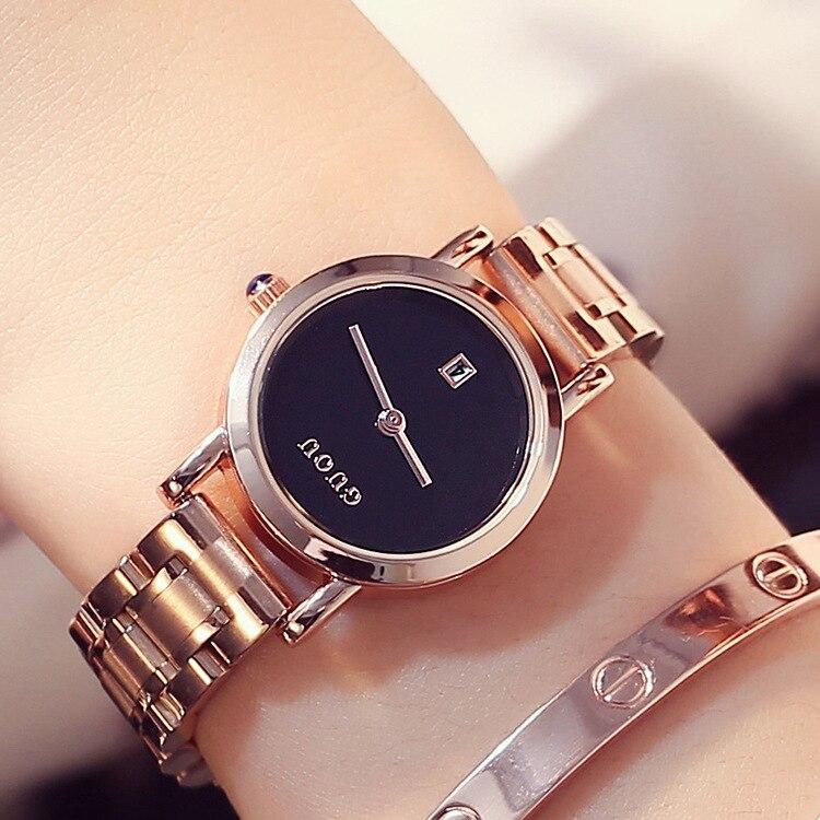 Luxury High Quality GUOU Rose Gold Stainless Steel Bracelet Quartz Wristwatches Wrist Watch for Women Girls Japan Movt 8127 high quality rose gold hello kitty watch children girls women fashion dress quartz wristwatches go085