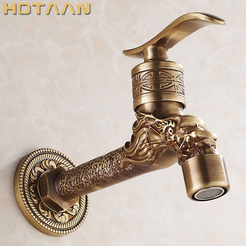 Cheap Sale Antique Bronze Dragon Carved Tap Animal Shape Faucet Garden Bibcock Washing Machine Faucet Outdoor Faucet For Garden Yt-5157-b Bathroom Fixtures Bathroom Sinks,faucets & Accessories