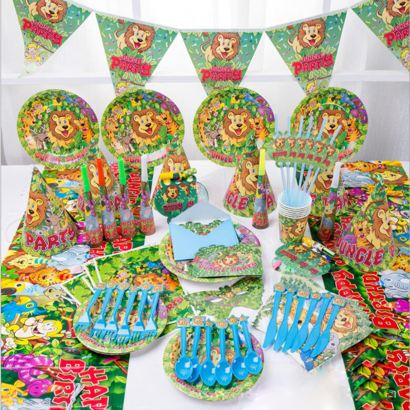 16Set/ 1Box <font><b>Jungle</b></font> Party Lion Disposable Tableware Sets Children's <font><b>Birthday</b></font> Party Decorations Straw <font><b>Cup</b></font> Hat Tableware Supplies