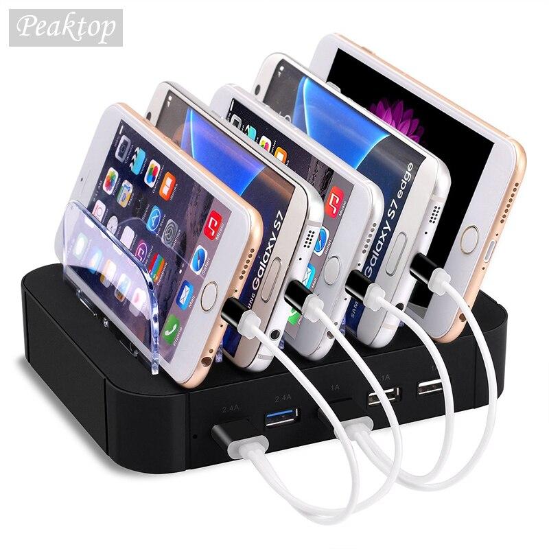 """תחנת טעינת Dock עם מחזיק מעמד 5 יציאות USB 2.4A רב פונקצית מטען USB לטלפון נייד Tablet PC בארה""""ב בבריטניה באיחוד האירופי גרסה"""