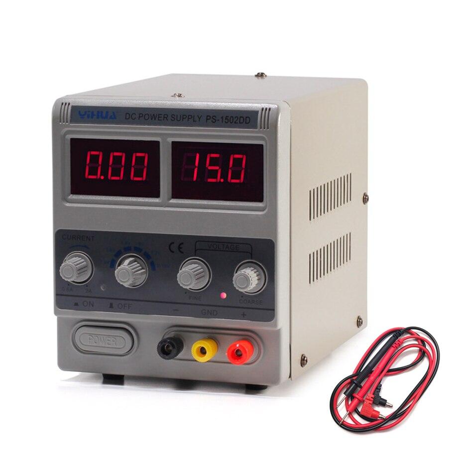 YIHUA 1502DD Mini Laboratoire Alimentation Réglable Numérique 15 v 2A 0.1 v 0.01A Régulateurs de Tension Téléphone Réparation DC Puissance fournitures