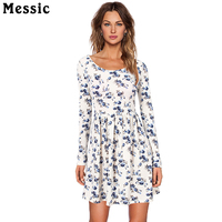 Messic Women Autumn Winter Vintage Dress Long Sleeved Print Floral Dress Women Retro Vintage Elegant Tunic
