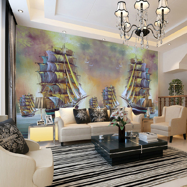 Free Shipping Large Sailing Sail Bedroom Living Room TV Background Wallpaper Murals 3d Perspective Study Custom