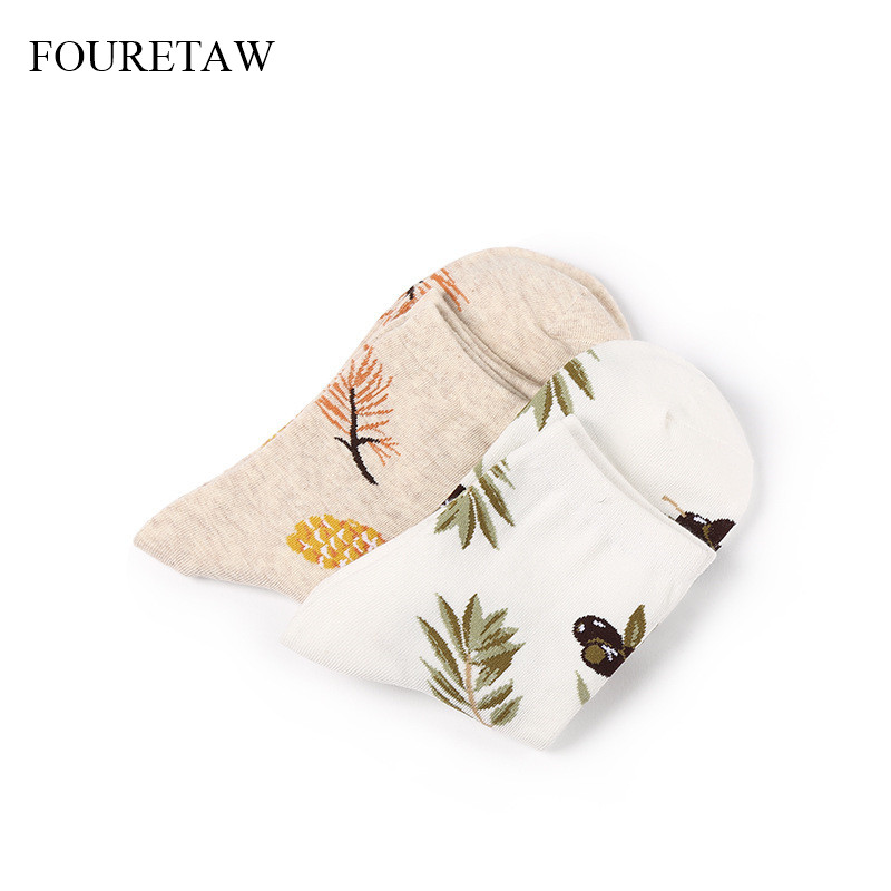 Fouretaw 1 Pair Fashion Japanese Street Style Creative Leaf Pattern Women Girls Socks Casual Cotton Funny Summer Winter Socks Women's Socks & Hosiery