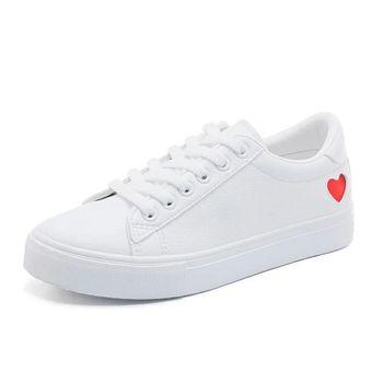Women Canvas Shoe Women Casual Flats Heart Lace-up Fashion Ladies Spring/Autumn Shoe 1