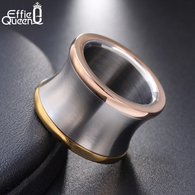 Effie Queen Unique Design 15mm Big Stainless Steel Rings For Men Women Party Fin