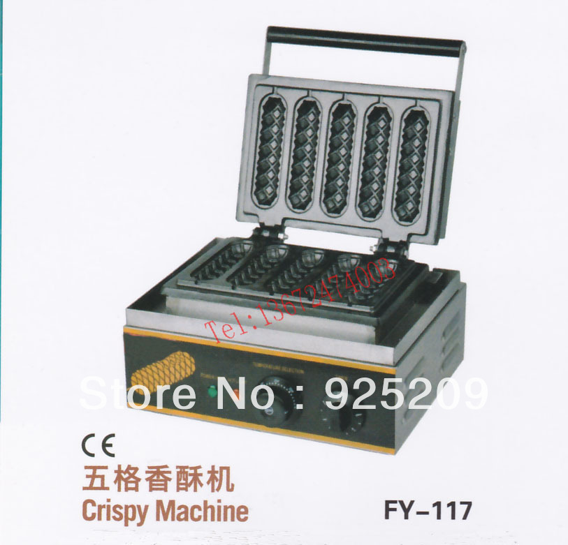 free shipping~ 110V/220V with CE for 5 pcs hot dog machine / lolly waffle maker/ hot dog stick 220v 110v mixed type hot dog lolly waffle machine hot dog grill