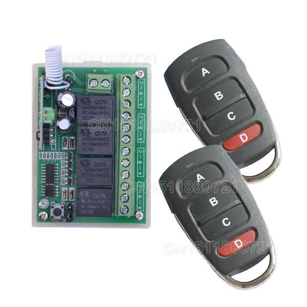 DC 12V 10A 2 4CH Channel RF Wireless Remote Control Switch 315 MHZ 433 MHZ Transmitter Receiver 3 Working Modes Self-locking 24v 4 channel rf wireless remote switch control light switch system 4 ch receiver 2 transmitters in 433 92mhz