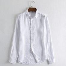 7cb04411576f58 2018 Z Długim Rękawem Mężczyzna Naturalne Czysta Koszule Lniane Rocznika  Konopi Odzież Kołnierz ścielenia Jednolity Koszula