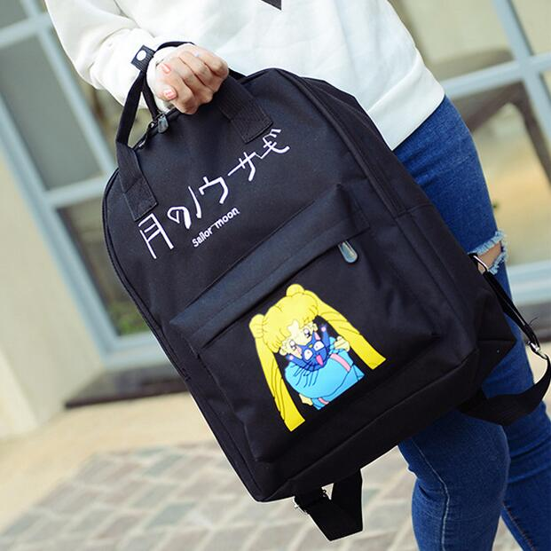 Sailor Moon Backpack Womens Girls Backpacks Japanese Harajuku Embroidery Letters 2017 New Arrivlas Free Shipping