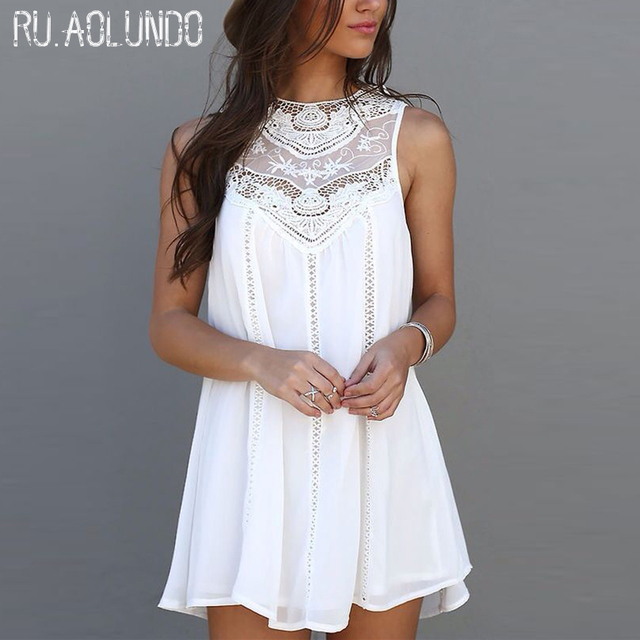 Womens Dresses 2017 New Arrival Summer White Lace  Party Dresses Sexy Club Casual Vintage Beach Mini Sun Dress