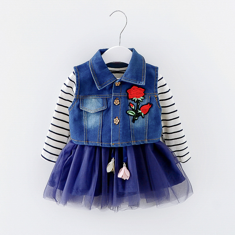 baby girl dresses suit full sleeve spring Autumn Princess cotton dress + denim vest Kids ...