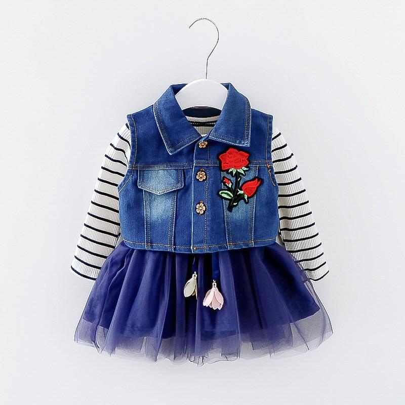 baby girl dresses suit full sleeve spring Autumn Princess cotton dress + denim vest Kids ...