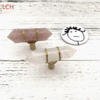 Lch estilo nórdico luxuoso natural rosa de cristal armário botão gaveta puxar móveis alças bronze botão simples vida cristal claro|Puxador de gaveta| |  -