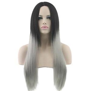 Черные и серые волосы, прямые длинные парики, белые синтетические волосы, термостойкий серый Omber Hair, женский парик