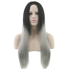 Black To Grey Hair Straight Long Wigs White Synthetic Hair Heat Resistant Gray Omber Hair Women Wig