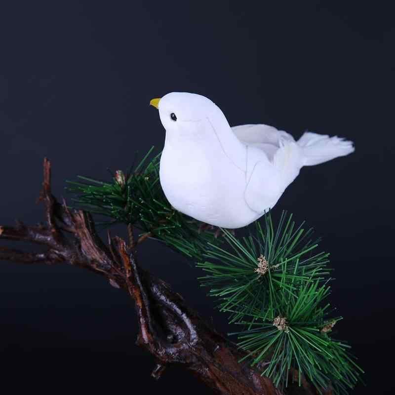 1 Pcs ตกแต่ง Doves โฟมประดิษฐ์ Feather Mini White Birds Craft นก DIY งานแต่งงานตกแต่งภายในเครื่องประดับ