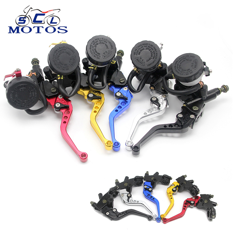 Sclmotos-  CNC 7/8 22mm Motorcycle Brake Clutch Levers Master Cylinder Reservoir Set For Honda for Suzuki for Kawasaki for KTM universal 7 8 22mm gold motorcycle brake clutch master cylinder reservoir levers set for honda suzuki kawasaki yamaha d25