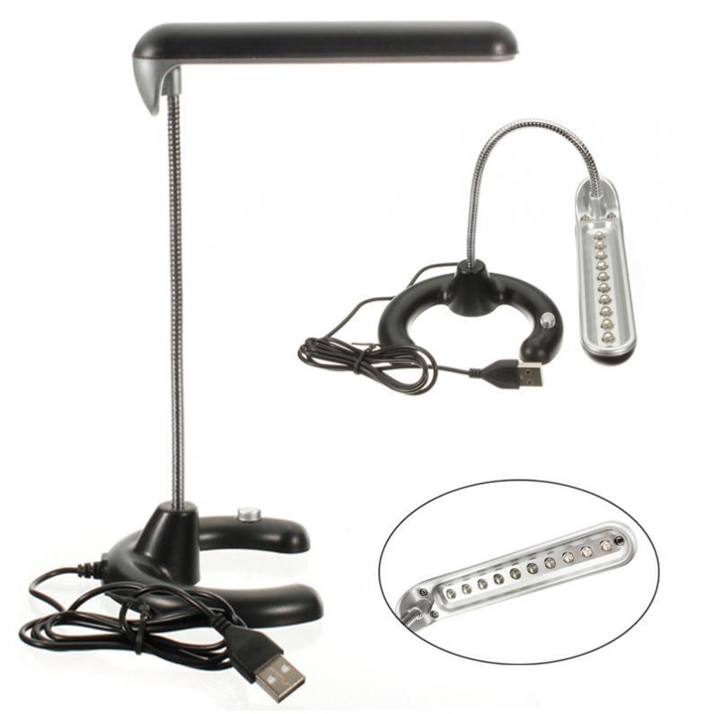 Black 10 LED Flexible USB Light Desk Table Computer PC Lamp For Study  Reading
