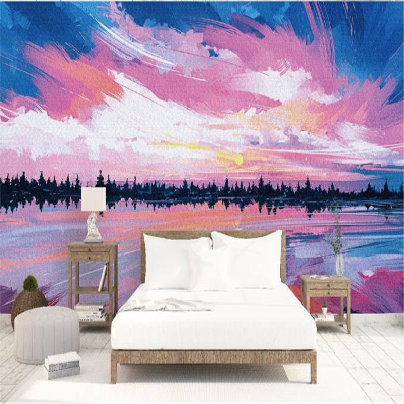 3D Wall Paper for Walls Abstract Art Natural Landscape Non-Woven Wallpapers Pink Purple Oil Painting Mural Living Room Wallpaper non woven bubble butterfly wallpaper design modern pastoral flock 3d circle wall paper for living room background walls 10m roll