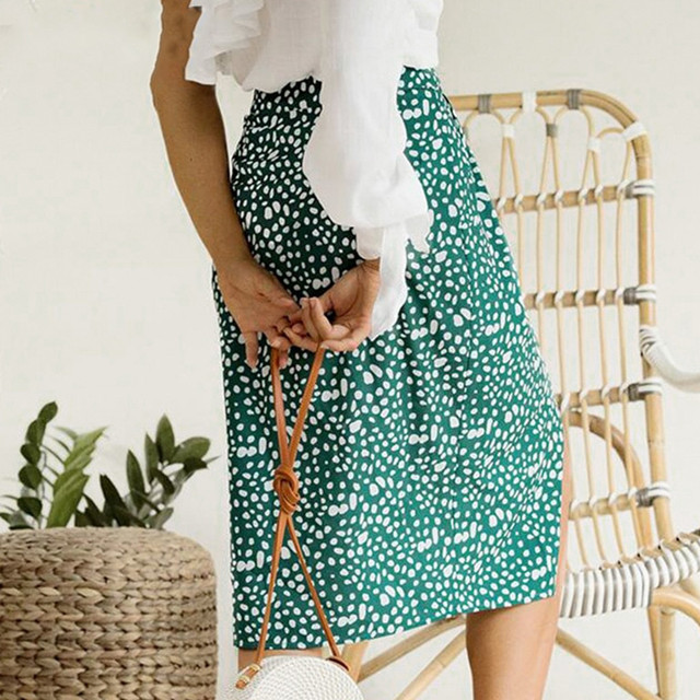 Womail Skirts Womens High Waist Split Midi Skirts Button Green Leopard Dot Print Summer Skirt Sexy High Fashion Boho Skirt M523