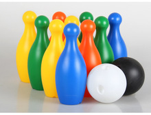 12pcs / lot Puzzle Children's Toys Color Bowling Toys Large Bowling Sports Casual Bowling Set(China)