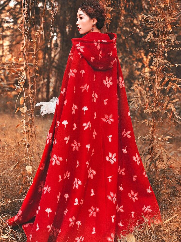 Nouvelles Et Manteau D'hiver Laine Capuche Rouge Mode Adultes Femmes Automne Long Vêtements Broderie De Ethnique Épaississement Pour Veste Style À 2019 d7HwOxqUd