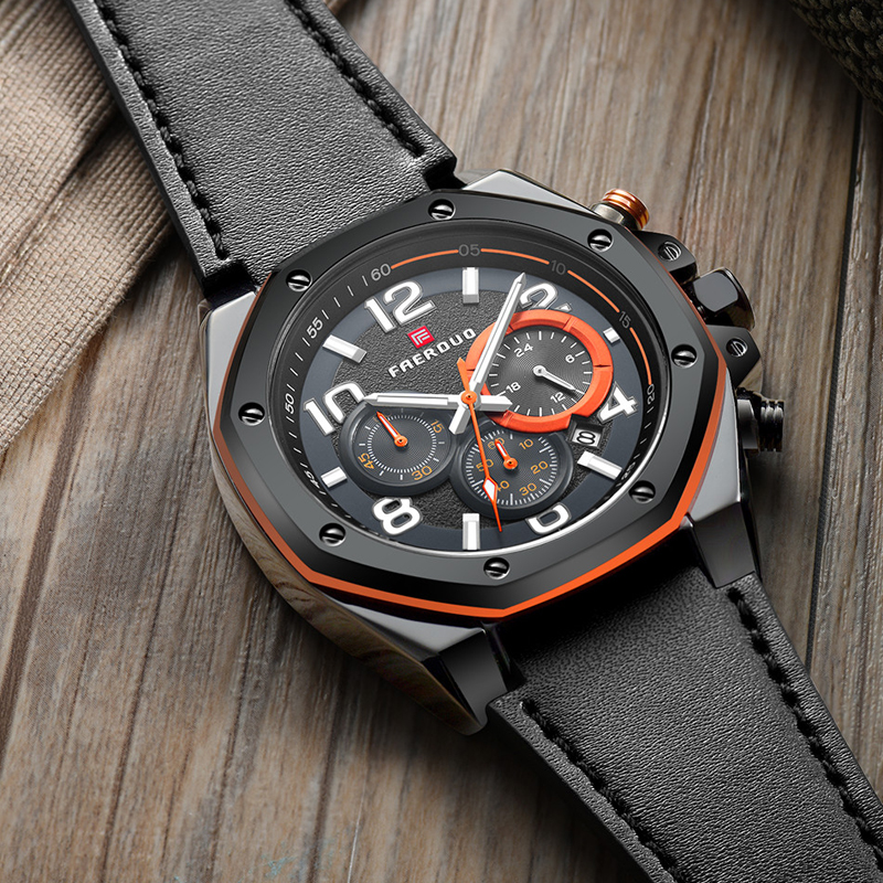 Black Watch Men Stainless Steel Octagonal Dial Top Brand Watch Chronograph Multi-Function Men Watch Genuine Leather Reloj Hombre