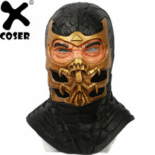 XCOSER Mortal Kombat 9 Scorpion Full Head Helmet 2019 Halloween Party Latex Mask Game Cosplay Costume Props Adult Scary Masks(China)