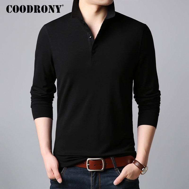 COODRONY Classic Casual Turn-down Collar T-Shirt Men Long Sleeve T Shirt Men Multicolor Tshirt Soft Cotton Tee Shirt Homme 95016