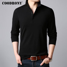 COODRONY Classic Casual Turn-down Collar T-Shirt Men Long Sleeve T Shirt Multicolor Tshirt Soft Cotton Tee Homme 95016