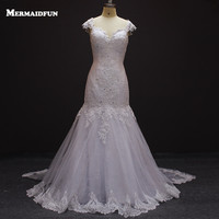Cap Sleeves Court Train Sweetheart Lace Wedding Dress High Quality Custom Made Wedding Gown 2015 New