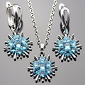 Lan Trendy Sliver-Planted Jewelry Sets Blue AAA Zircon Square Shape Necklace Pendant Earring For Wedding /Free Shipping