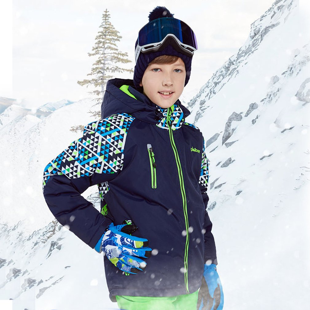 Phibee Boys/Girls Ski Suit Waterproof Pants+Jacket Set Winter Sports Thickened Clothes Children's Ski Suits Hot Sale